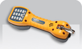 Fluke Networks TS30 with angled bed of nails clips