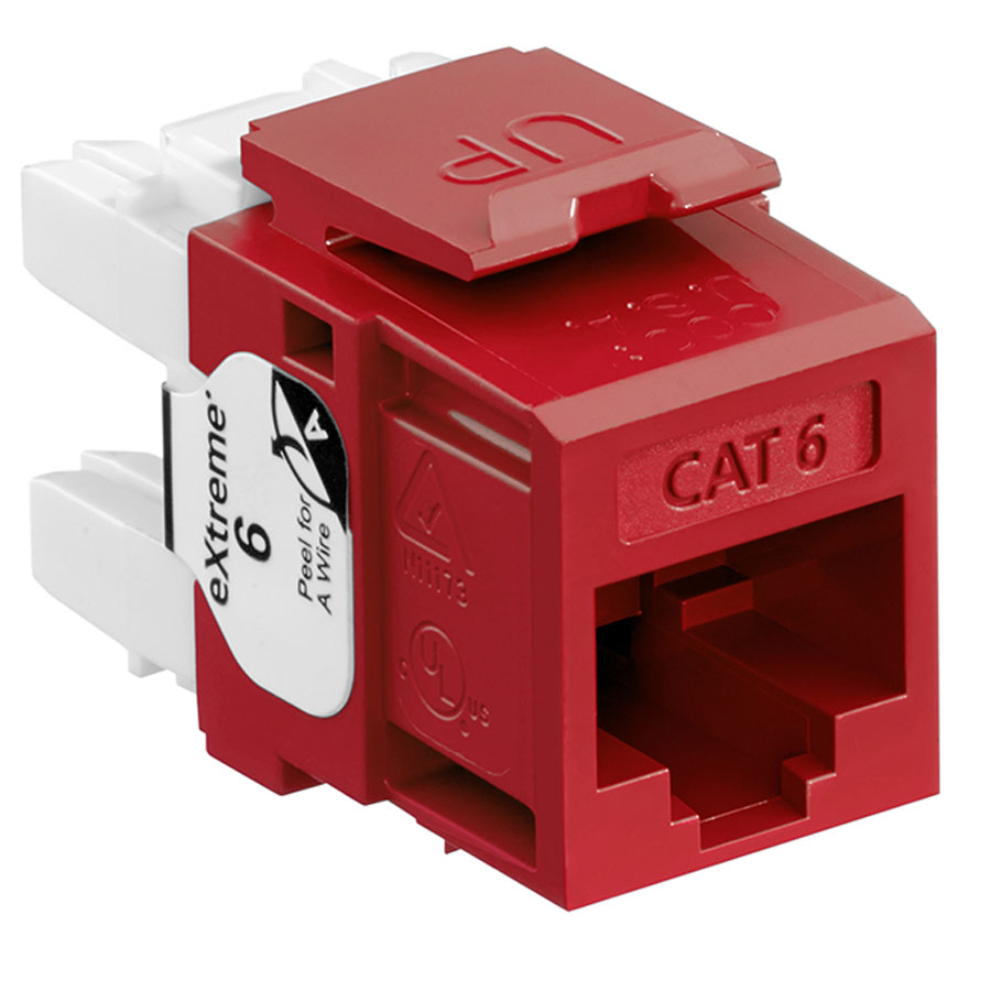 Leviton 61110-RR6 6+ QuickPort Category 6 Jack (Red)