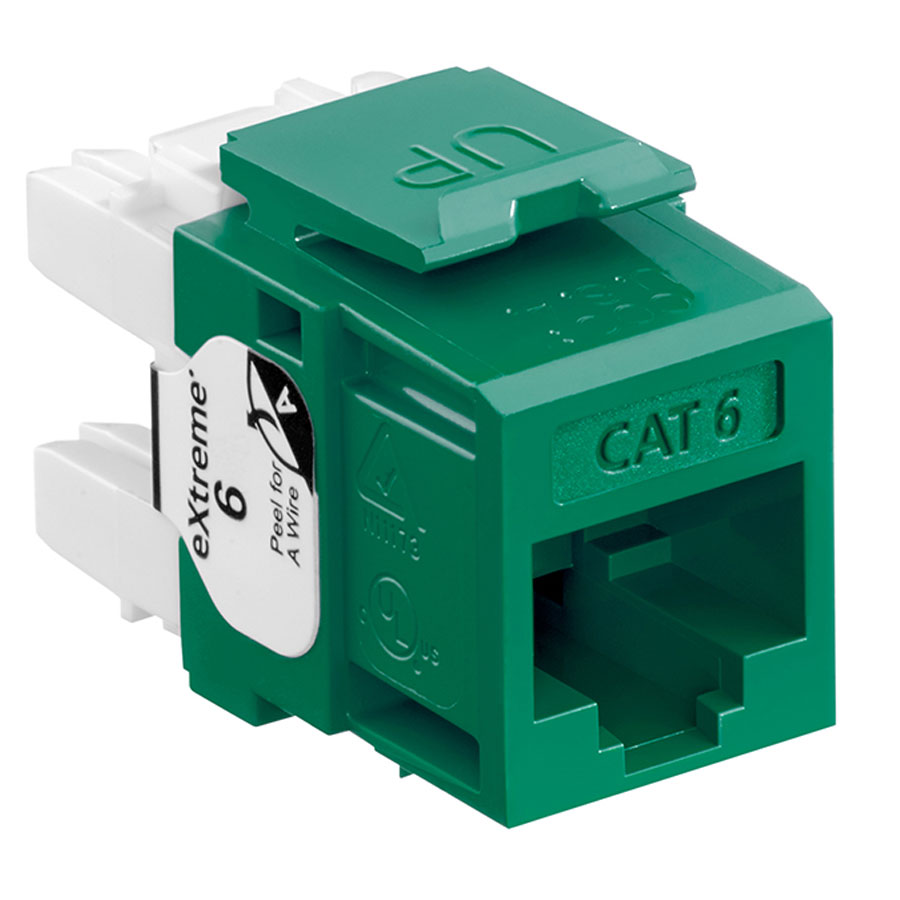 Leviton 61110-RV6 6+ QuickPort Category 6 Jack (Green)