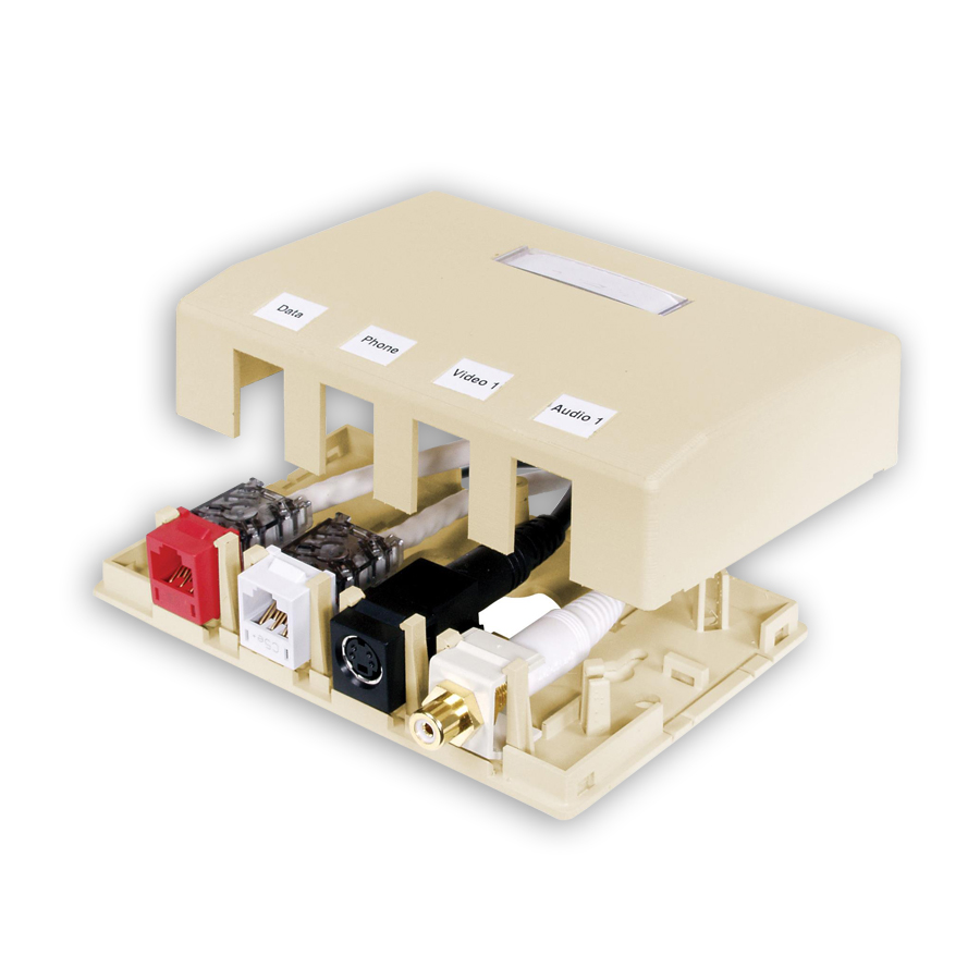 """""""Hubbell ISB4XX ISM Surface Mount Box, 4-Port"""""""