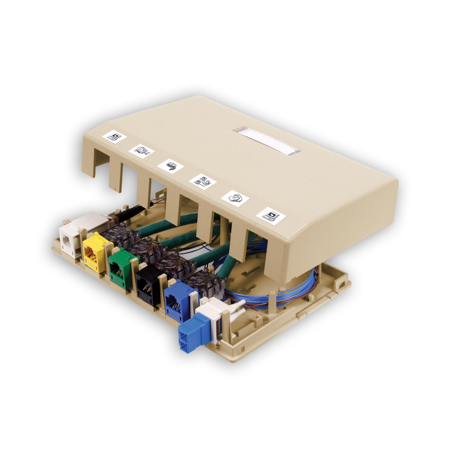 """""""Hubbell ISB6XX Surface Mount Box, 6-Port"""""""