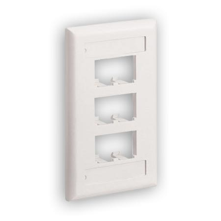 Panduit CFPL6IWY Vertical faceplate with 6 Modules spaces with labels