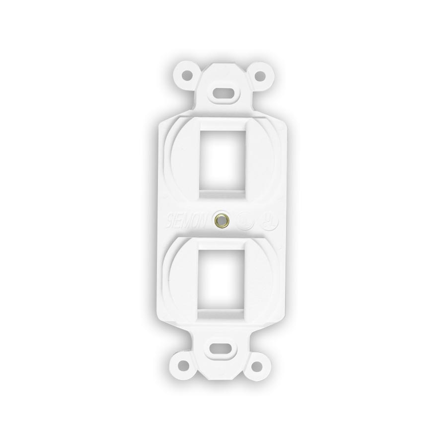"""Siemon MX-E2F-02 Duplex mounting frame, accepts two flat MAX or Z-MAX outlets, White"""